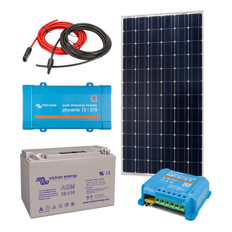 Solar Off Grid Kit 375 VA (700W peak) with 1320 Wh Energy Storage for Home, Van, Camper, Marine, Leisure