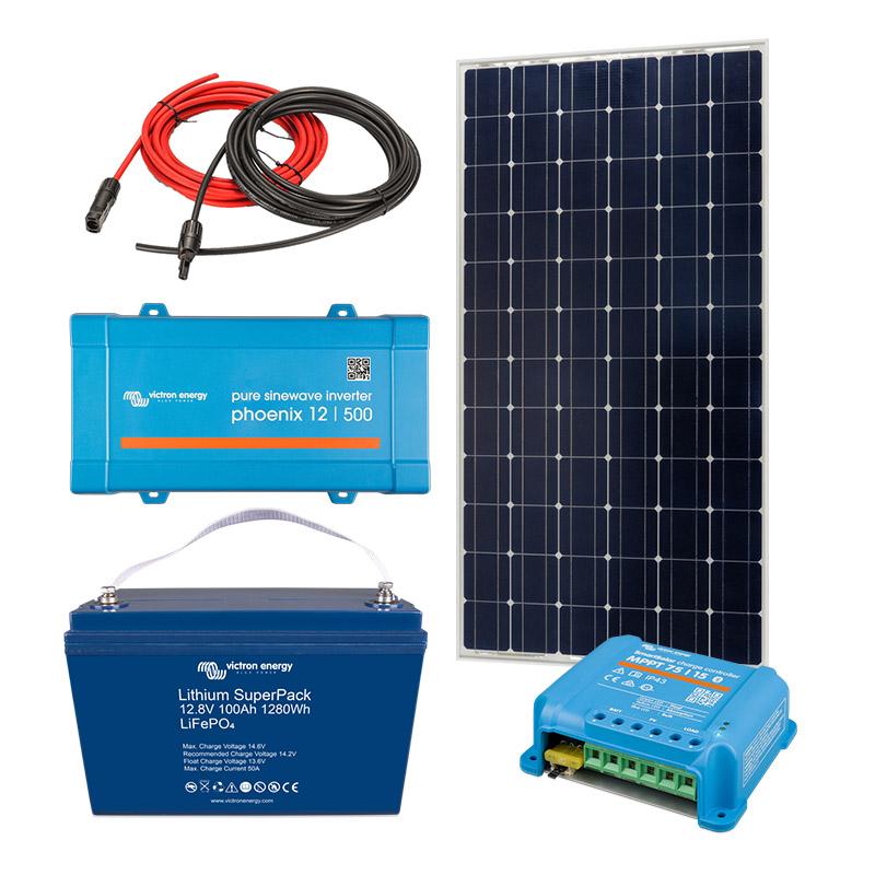 Solar Off Grid Kit 500 VA (900W peak) with 1280 Wh Energy Storage for Home, Van, Camper, Marine, Leisure