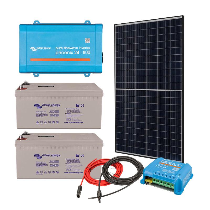 Solar Off Grid Kit 800 VA (1500W peak) with 5280 Wh Energy Storage for Home, Van, Camper, Marine, Leisure